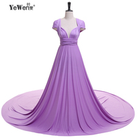 YEWEN V-Neck Open Back A Line Long Evening Dress Party Elegant Vestido De Festa Fast Shipping Prom Gowns formal dresses 2017