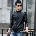 1pcs Men's leather motorcycle jacket blazers 2017Spring Genuine leather slim fit Jacket Men Skinny locomotive short blazers Coat
