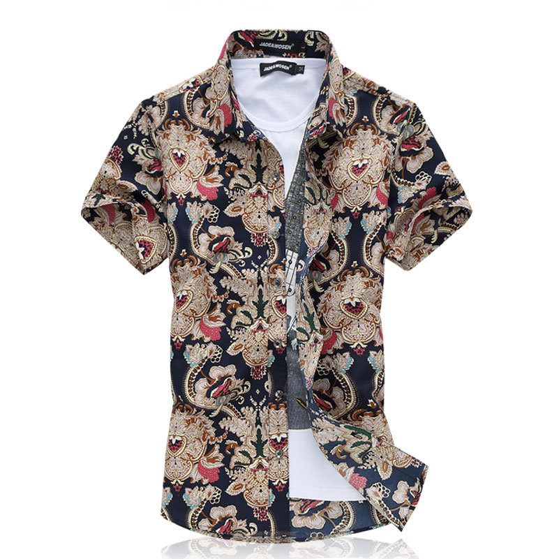 Men camisa Cotton Short Sleeve Shirt Summer beach floral mens dress shirt  camisa M~6XL-in Casual Shirts from Men s Clothing on Aliexpress.com  fa37d80ee