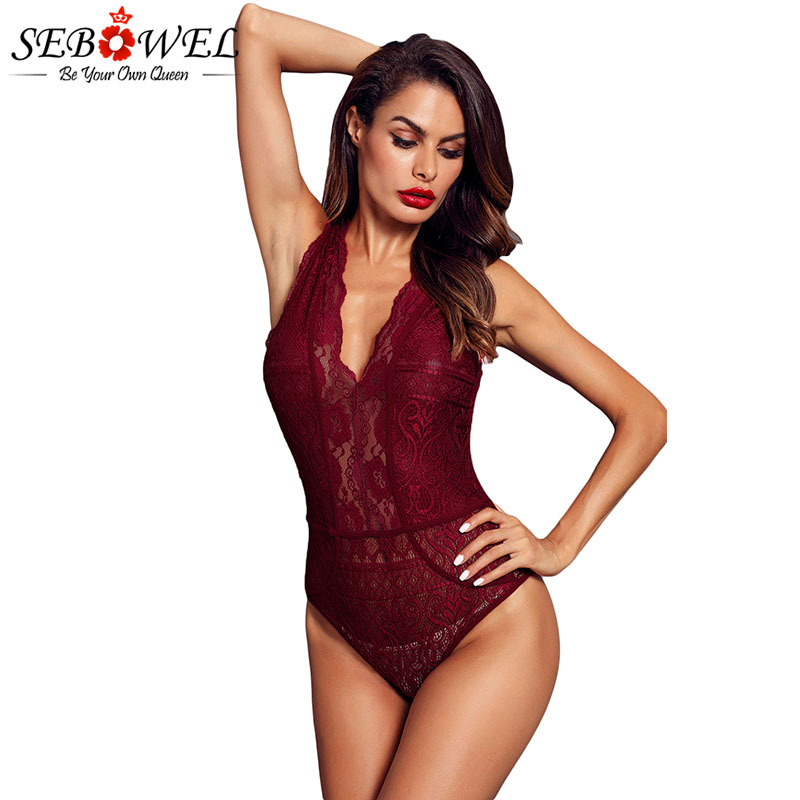 SEBOWEL Sexy Black/Red/White Sleeveless Lace Bodysuit Women Deep-V Hollow-out Bodysuits Feminine Transparent Bodycon Body Tops