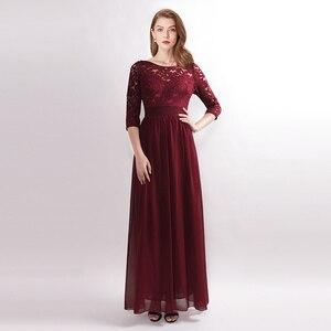 Image 2 - Elbise Robe Demoiselle d honneur zarif ucuz bir çizgi O boyun bordo gelinlik modelleri düğün için parti önlük kollu artı boyutu