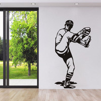 Creative baseball pitcher sportsman vinyl wall stickers home decor living room removable diy art mural decals