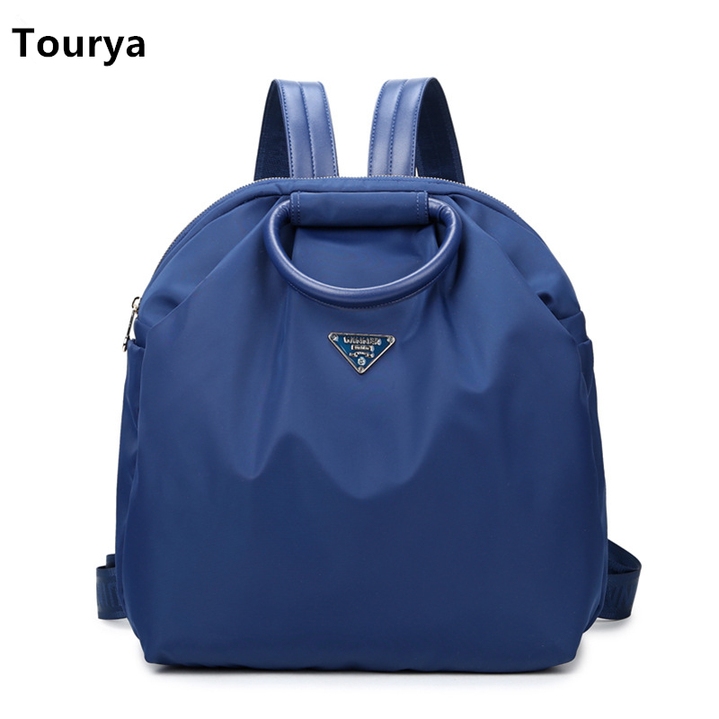Tourya Casual Women Backpack Vintage Nylon School Bags for Teenage Girls College Shoulder Daily Backpack Travel Satchel Daypack high quality fashion rock band backpack for teenage women men casual daypack college student preppy school backpack travel bags