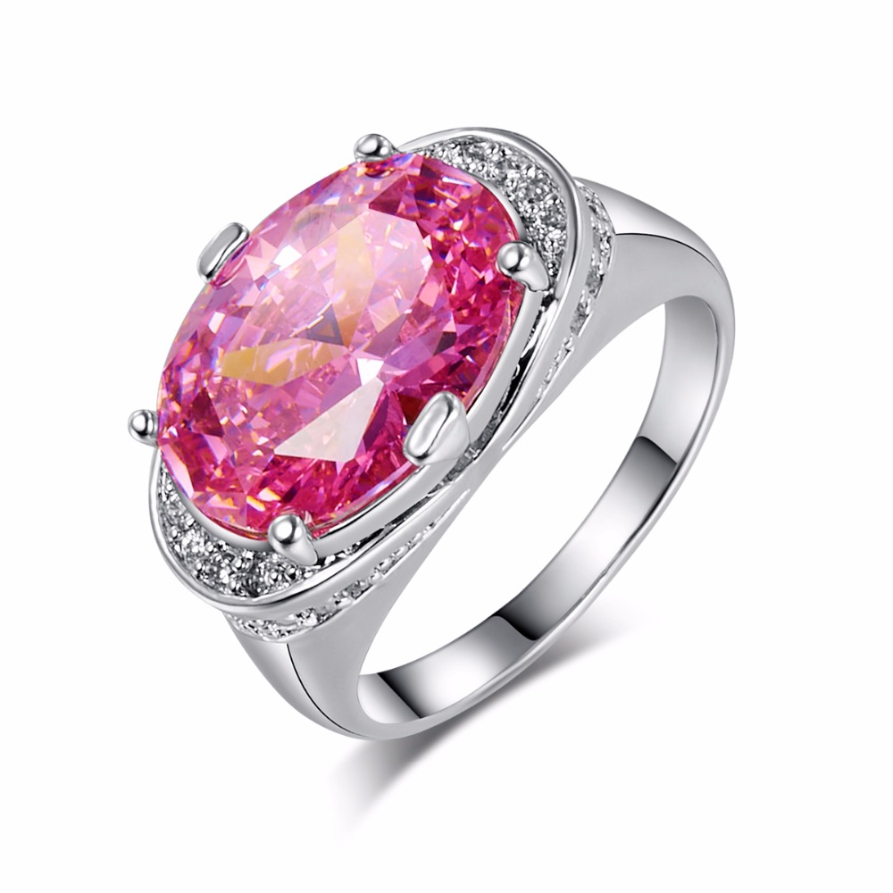 amazing 1014mm super big pink stone ring oval cut cz crystal finger rings silver - Amazing Wedding Rings