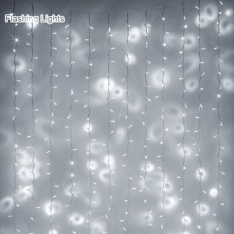 AC220V 1x2M / 2x2M / 6X3M LED aiskrim tirai tali cahaya dongeng Xmas - Pencahayaan perayaan - Foto 5
