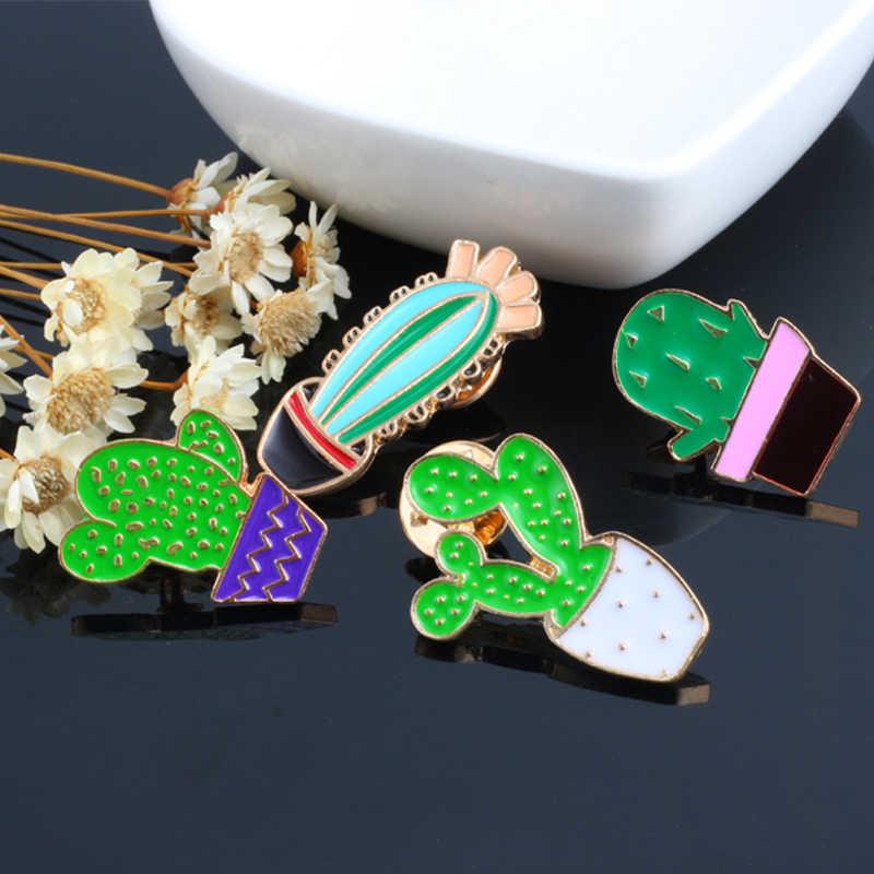 Grosir Warna Bros Cute Mini Kaktus Pot Prickly Pear Enamel Jaket Kerah Pin Tas Ikon Lencana Wanita Perhiasan