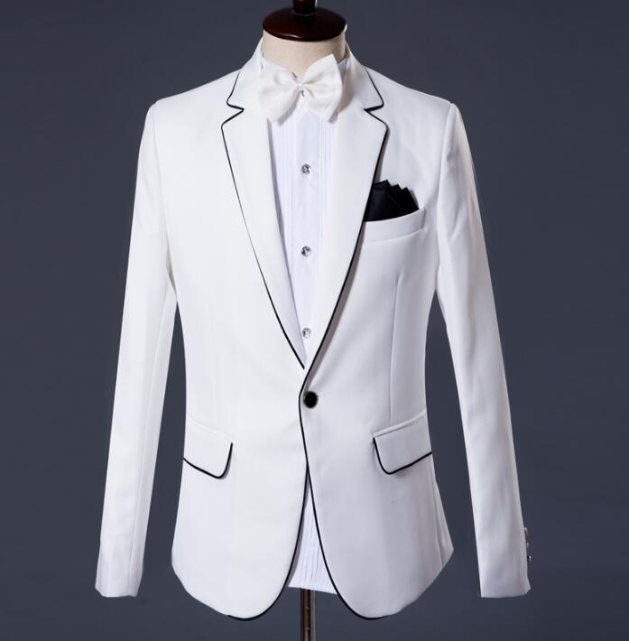 2019 New Arrival Brand-clothing Slim Men Suit Set With Pants Mens Suits Wedding Groom Formal Dress Suit + Pant White Fashion