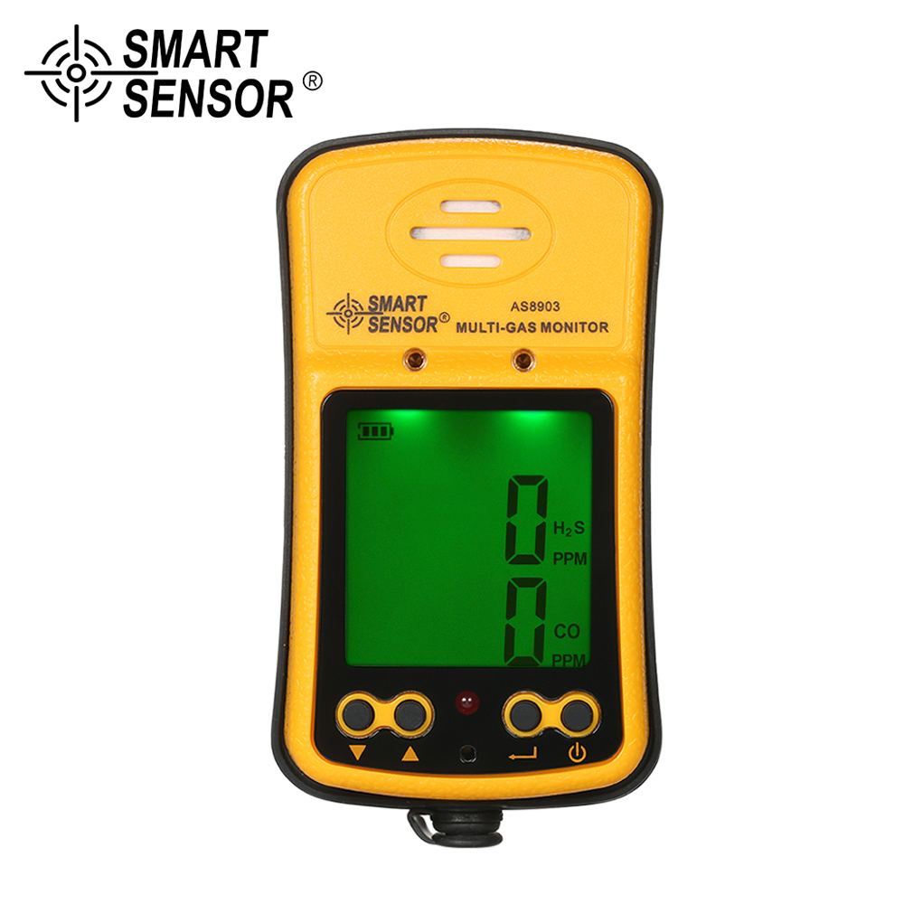SMART SENSOR Gas analyzer H2S CO 2 in 1 Toxic Gas Carbon Monoxide leak Detector Carbonic Oxide Hydrogen Sulfide Gas Tester