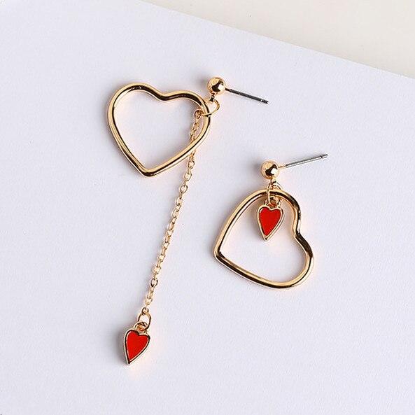 2017 Trendy Asymmetry Earings Fashion Jewelry Sweety Alloy Hollow Heart Metal Ch