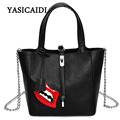 Women Bag Fashion Sequined Luxury Chain Handbag Lips Printed Large Capacity Female Shoulder Bag Famous Brand Casual Tote Bag