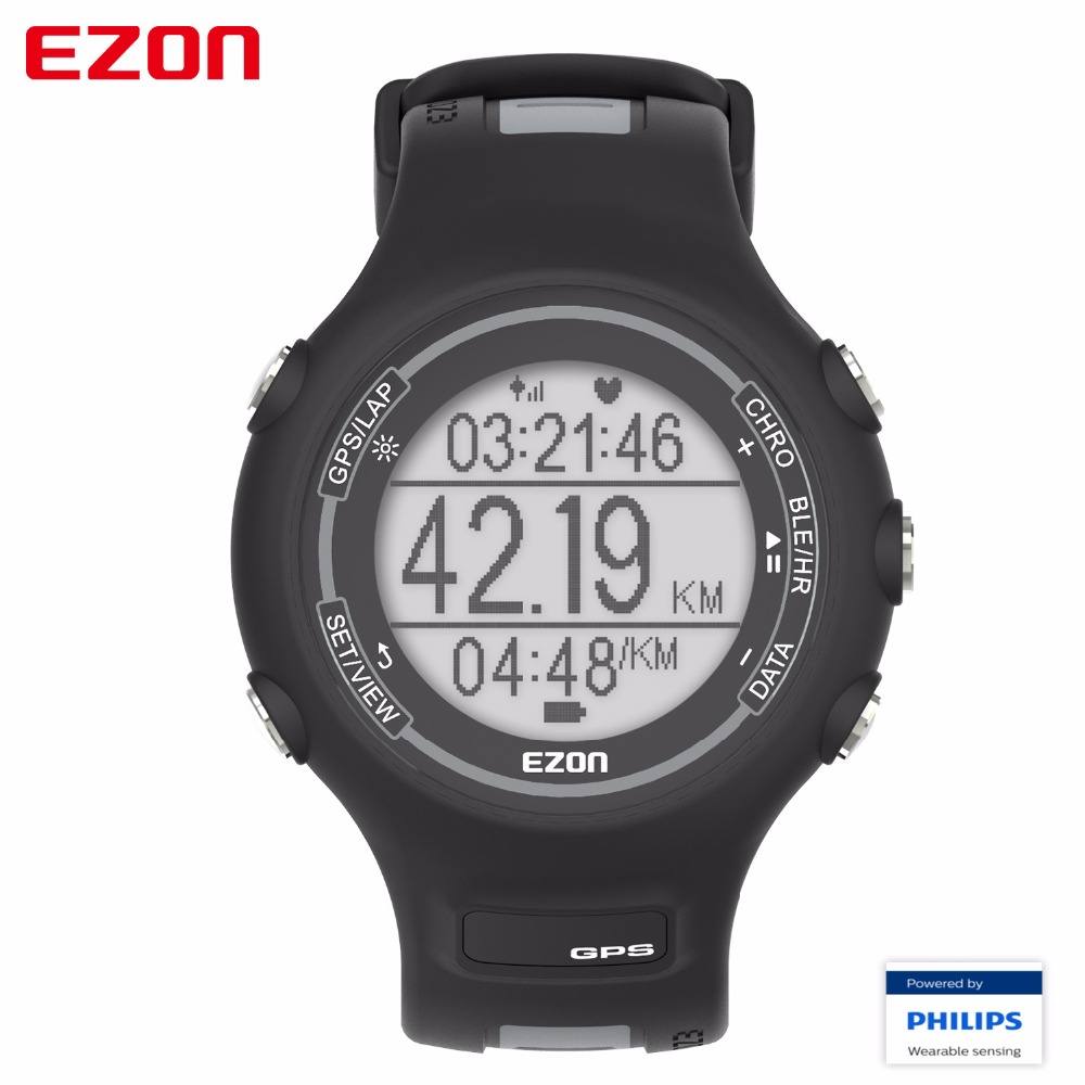 EZON GPS Sport Watch Waterproof Smart Bluetooth Optical Sensor Heart Rate Monitor Digital Watch Clock Men saat Relogio Masculino new ezon t043 optical sensor heart rate monitor pedometer calorie counter digital sport watch powerd by philips wearable sensing