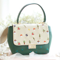 Fresh Chains Flap ENSSO Embroidery Mushrooms Floral Tree Prints Faux Leather PU Women's Messenger Crossbody Shoulder Bags Totes
