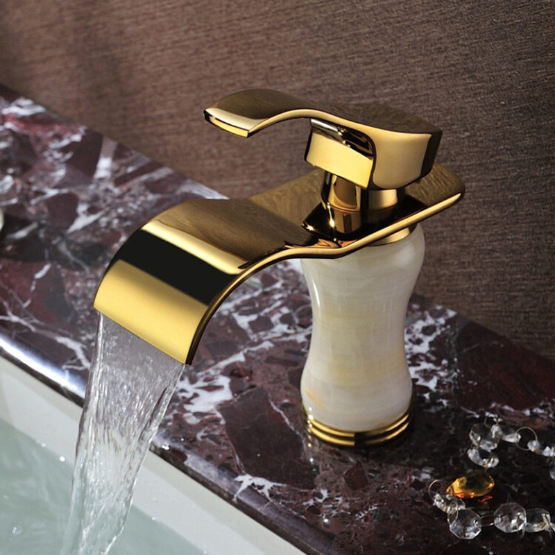 Free shipping jade stone gold bathroom mixer tap and solid brass golden basin sink faucet with single handle bathroom basin tap free shipping dual handle brass faucet bathroom basin mixer rose gold wash basin tap torneira