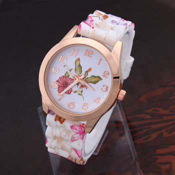 Flower Print Silicone Quartz Watch For Girls