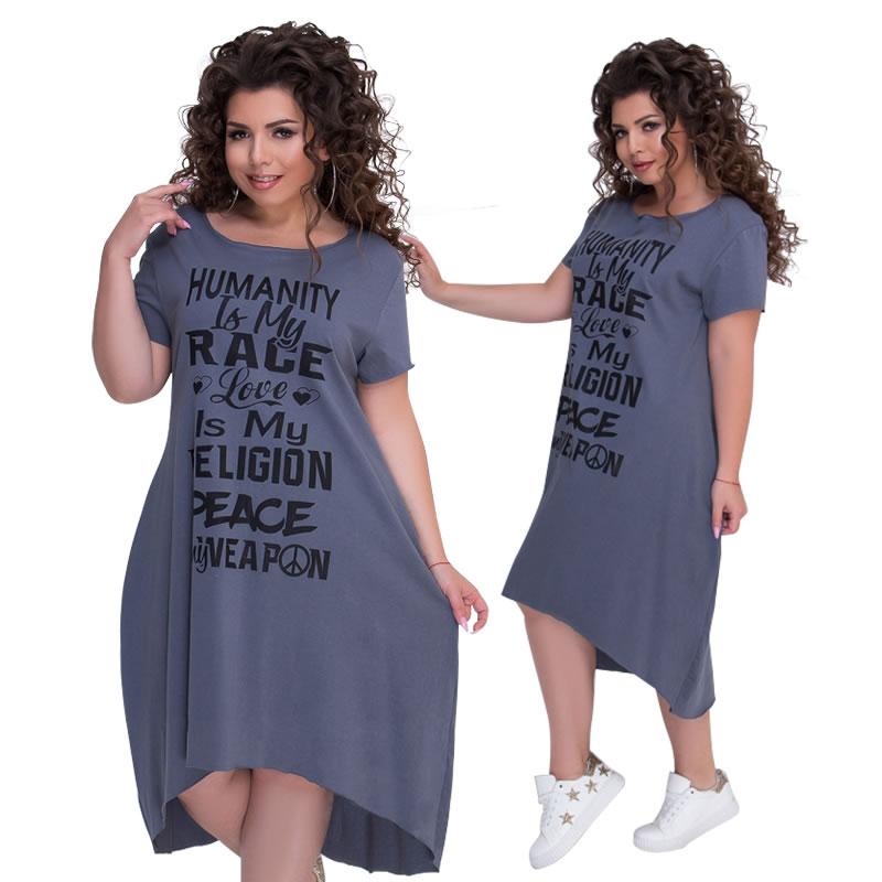 Plus Size Letters Printed Short Sleeve Mid-Calf Dress Vestidos L-6XL Big Size Casual Irregular Loose Dress Women Autumn Dresses 1