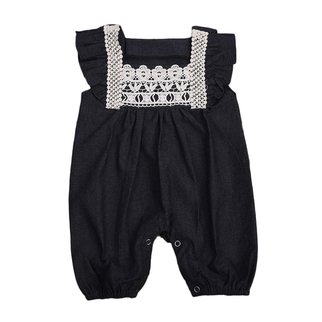 706d87f01 Toddler Baby Girls Clothing Rompers Denim Lace Harem Shorts Jeans ...