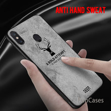 For Xiaomi Mi A2 Lite 8 6X Mi8 Pocophone F1 Cloth Texture Embossed Deer Case For Xiaomi Redmi 6A 6 Pro Note 5 Pro 5 Plus Cover(China)