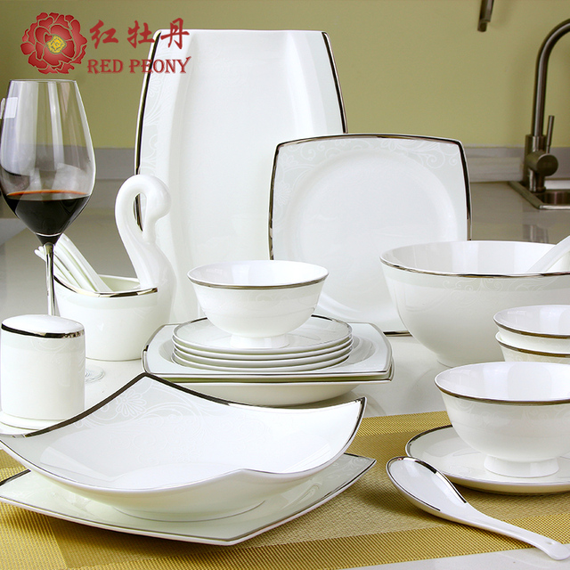 Red peony 28 heads and 6 people of Chinese household tableware porcelain bowl dishes set simple & Red peony 28 heads and 6 people of Chinese household tableware ...