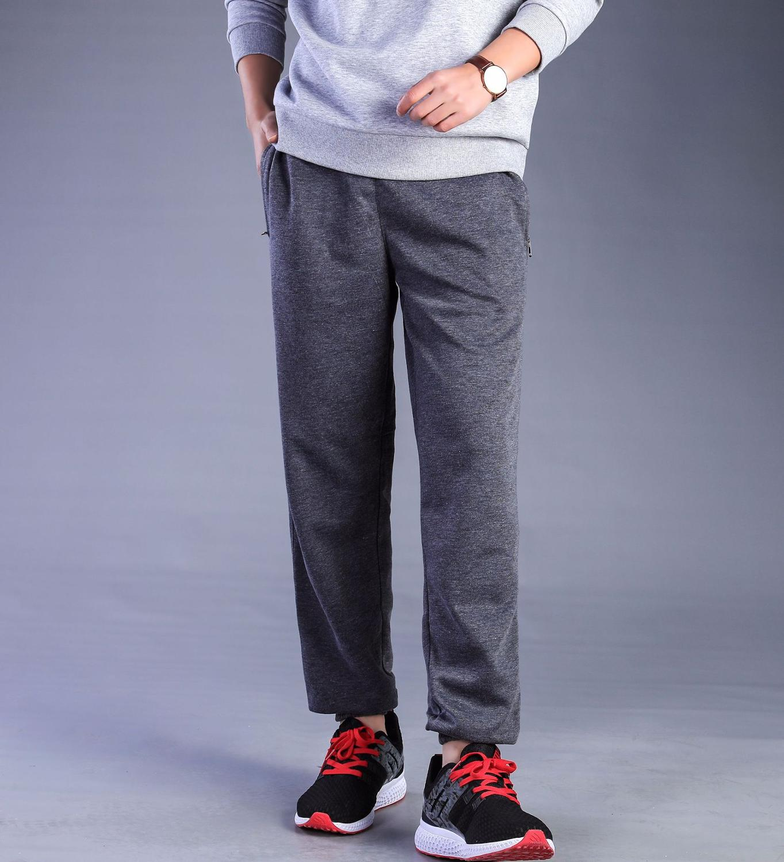 Big Size Spring Breathable Cotton Mens Sweatspants Loose Elastic Enlarge Pants Solid Zipper Pocket Men Casual Trousers
