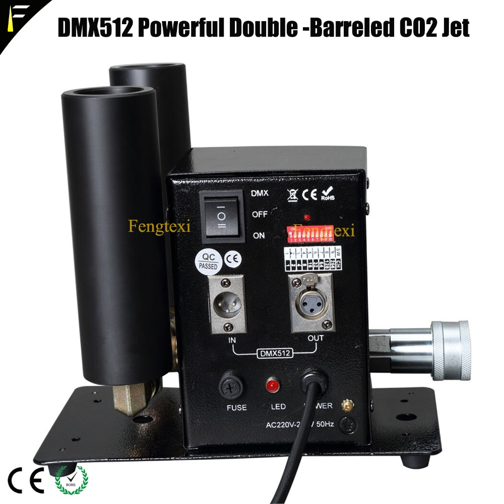цена Rock DMX512 Double Pipe CO2 Jet DMX Machine Fog Gas Column Shooter with T Connector Brass Fitting