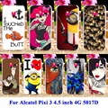 Cartoon Yellow Minions Silicon Cases For Alcatel OneTouch Pixi 3 4.5 inch 5019 4G Version Housing Covers 5017D 5019D Shel Hoodl