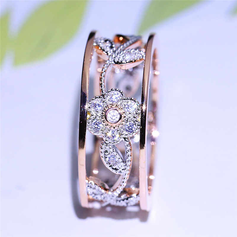 849b8788015b New Style Flower Leaf Hollow Design Crystal Rose Gold Rhinestone Ring