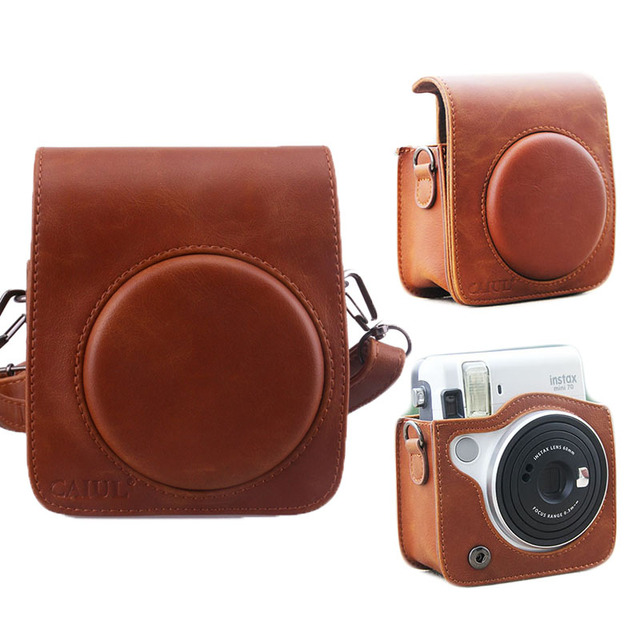 Brown Color Pu Leather Protective Case Bag Cover Pouch With Shoulder Strap For Fuji Instax Fujifilm
