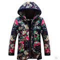 Winter jacket Women's fashion warm clothing eiderdown outerwear Thick loose hooded add flocking printing jacket coat BN1604