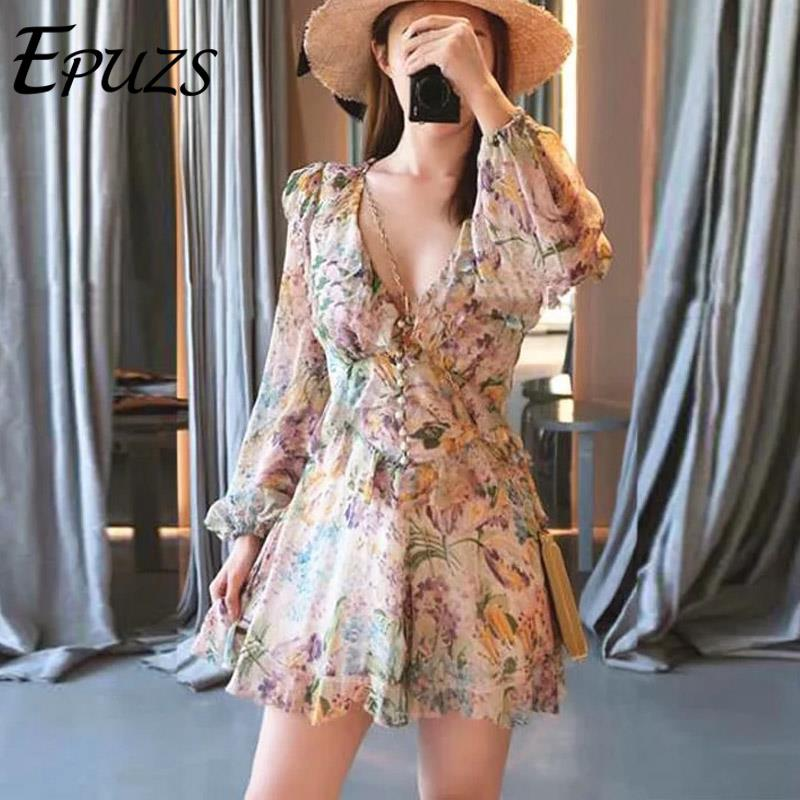 Sexy V Neck Floral Print Ruffled Playsuit Elegant Long Sleeve Chiffon Jumpsuit Romper Summer Party Beach Overalls 2019