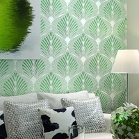 Simple Fan Leaf Pattern Mural Paper Flocking Wallpaper Papel De Parede 3d Embossed Damask Damascus Wall