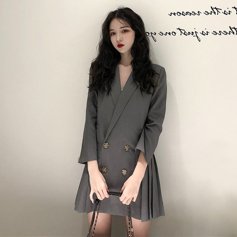 Women Spring Summer Mini Blazer Dress Notched Collar A-line Pleated Vestidos With Buttons Plus Size Vintage Robe Femme Sukienki Crazy Price Women's Clothing