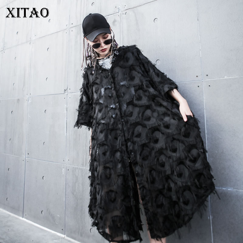 [XITAO] New Women 2019 Summer Fashion Single Breasted Lace Hooded Collar Half Sleeve Coat Female Solid Color Trench WBB3210