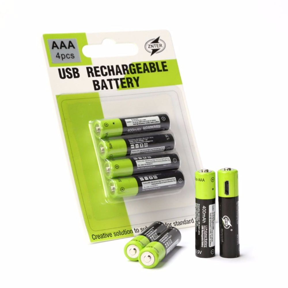 ZNTER 2 4PCS 1 5V 400MAH Rechargeable AAA Battery USB Cable AAA 1 5V USB line charging batteries Li Polymer Battery in Replacement Batteries from Consumer Electronics