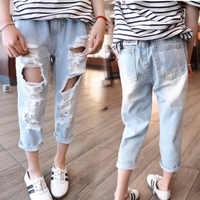 2018 nuovi Bambini di modo abbigliamento primavera e di autunno delle ragazze dei jeans del fumetto della ragazza fori dei pantaloni della ragazza del denim dei pantaloni lunghi