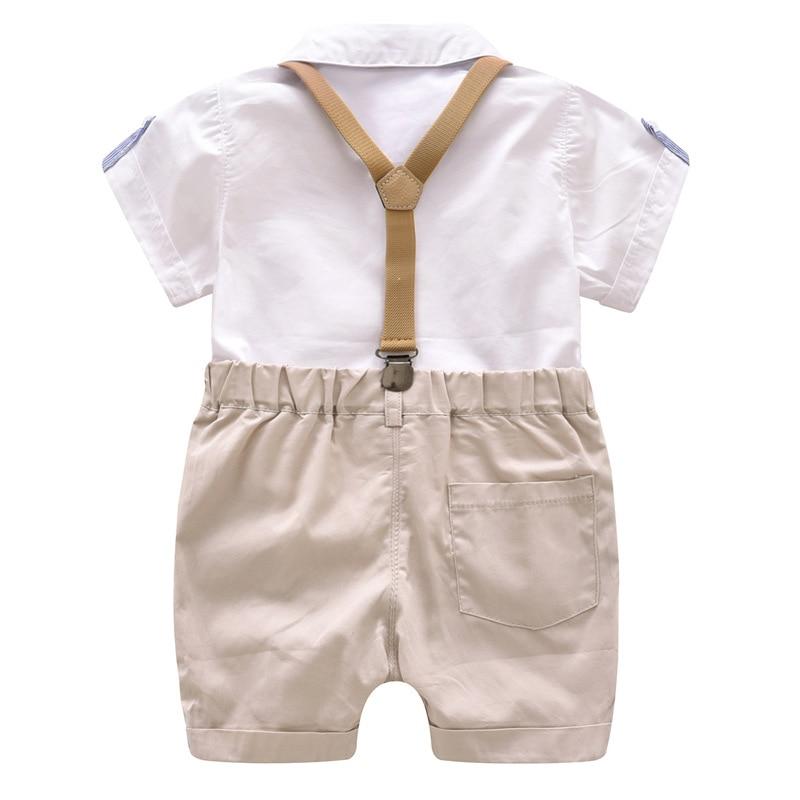 Для маленьких мальчиков одежда джентльмена рубашка + шорты Комбинезоны для мальчиков детская одежда для Свадебная вечеринка Детская одежд...