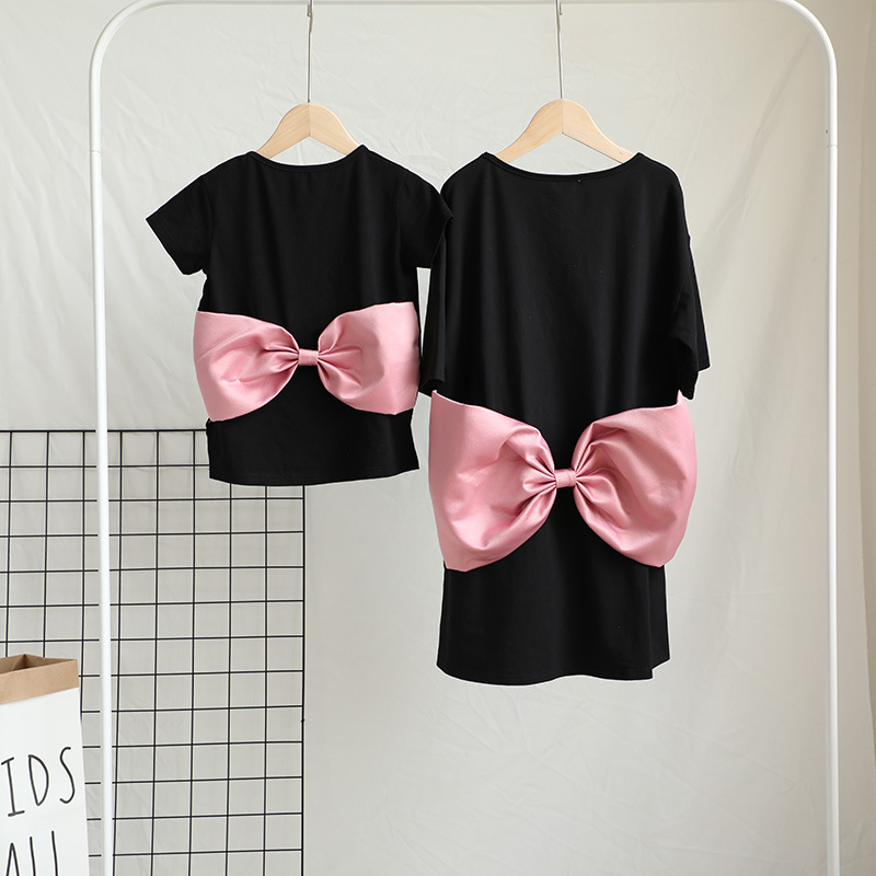 Big Bow Matching Mother And Daughter Dresses Mommy And Me Clothes Family Look Mum Mom Baby Daughter Dress Clothes Family Outfits