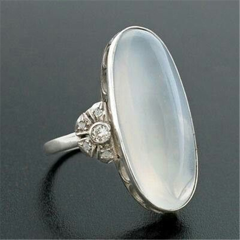 Classic Oval Moonstone Rings for Women Wedding Gift Bright ...