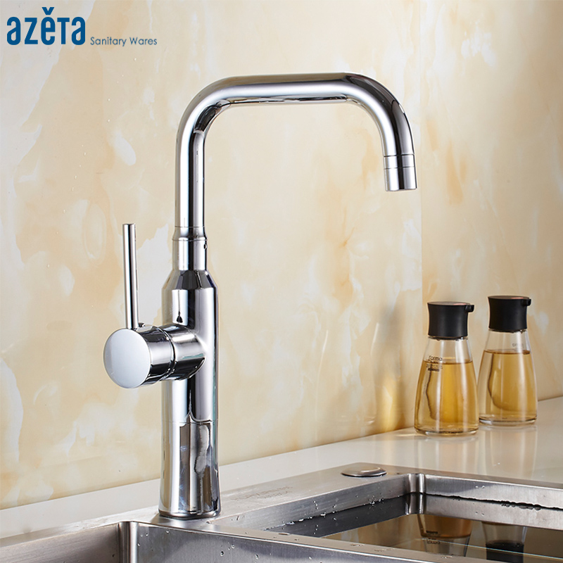 Azeta Modern Chrome Kitchen Tap Brass Material Kitchen Mixer Tap Deck Mounted Kitchen Sink Faucet torneira cozinha AT9508