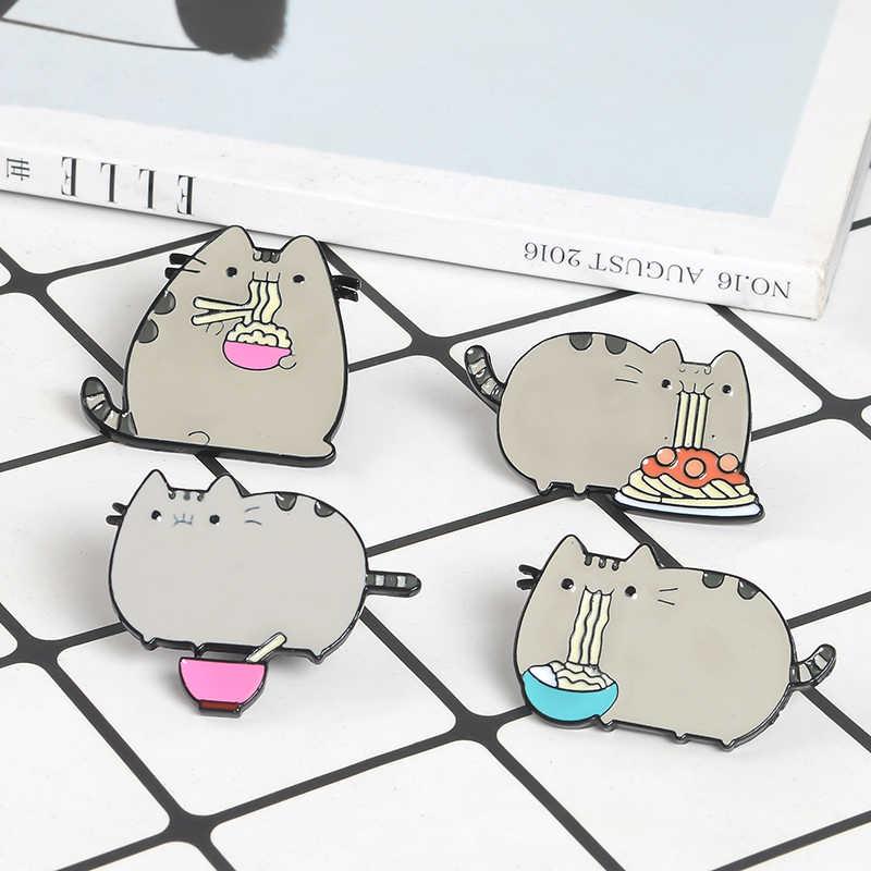 ไขมันสีเทาแมว Enamel Pins ป้ายตอบสนองกินปาเก็ตตี้ยืน lapel Pin เข็มกลัดน่ารักการ์ตูนสัตว์เครื่องประดับ DENIM กระเป๋าเสื้อ
