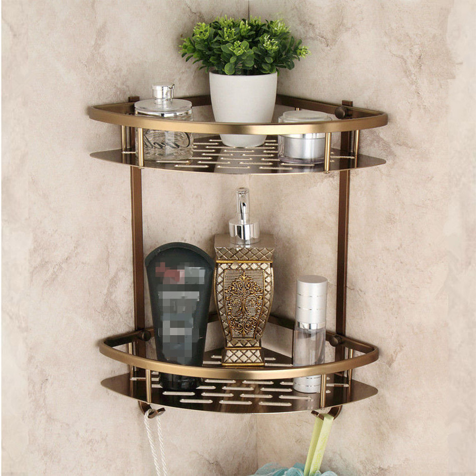 Bathroom Triangle Shelves Dual Tier