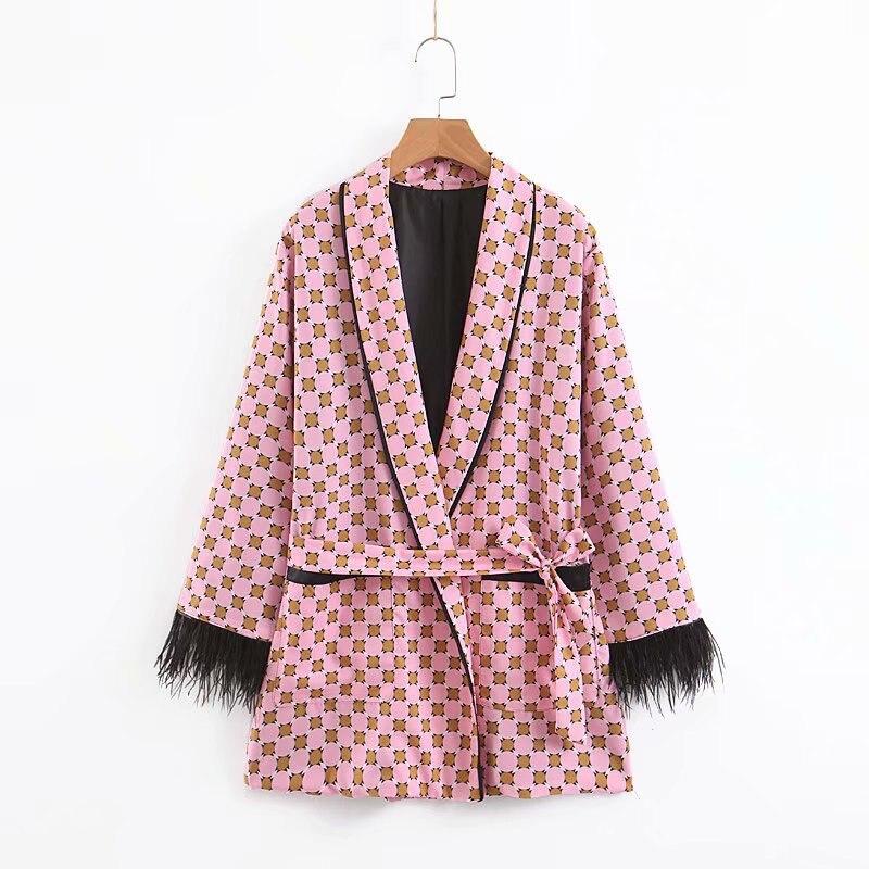 HTB1L lkTPTpK1RjSZKPq6y3UpXaj Women jacket for women fashion suit jacket with fringed print