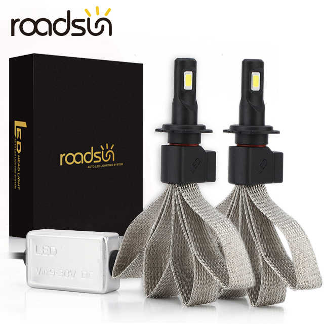 roadsun S7 Car Headlight Bulbs LED H4 H7 9005 H11 H8 H9 HB1 HB3 9006 9007 880 12V 55W 6000K 12000LM/Pair Lamp Auto Bulb Light