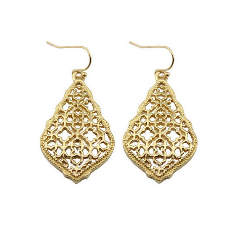 ZWPON Bohemian Gold Filigree Hollow Teardrop Earrings 2018 Famous Brand Jewelry Boho Fashion Womens Morocco Statement Earrings