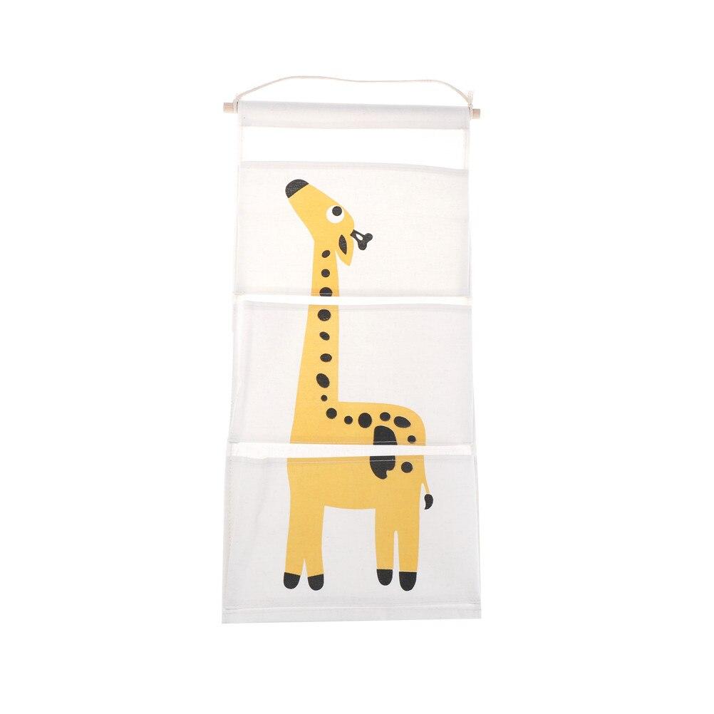 3PCs/set cute Cotton Wall Pockets Hanging Organizer for Kids Cartoon Animal Door Hanging Bag Linen 63*30cm