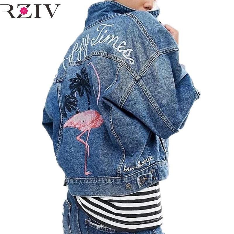 RZIV Autumn female jean jacket casual double pocket decorated denim jacket clothing embroidery women jacket coat