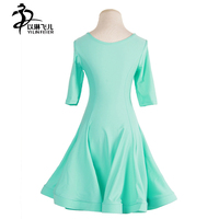 High Quality Turtleneck Children Ballroom Dance Wear Green Pink Blue Girls Latin Sexy Dirls Kids