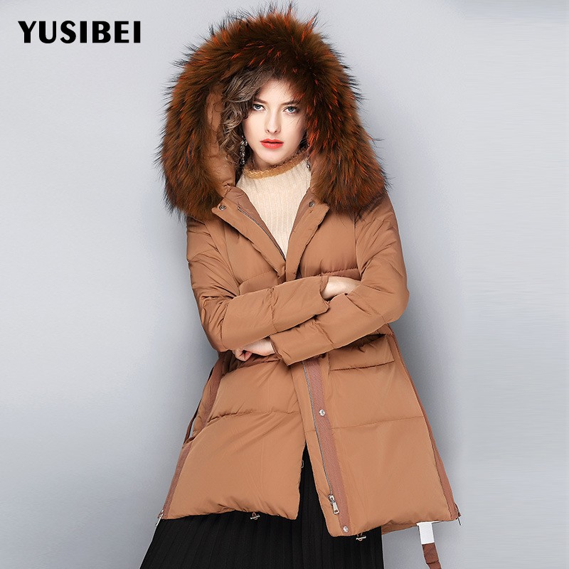 Winter Women Down Jacket Raccoon Fur Collar Hooded Parka Loose Fit Long Coat Female Brand Belted Thicken Warm Outerwear Overcoat