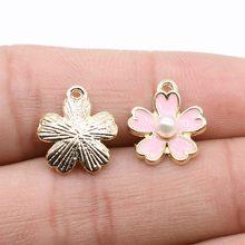 WYSIWYG 10 sztuk Charms biżuteria ustalenia DIY akcesoria kwiat wisiorek KC złoty kolor 14x12mm