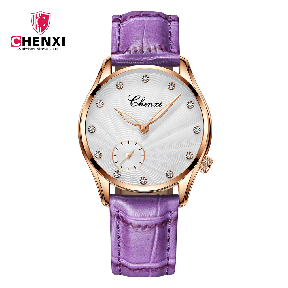 Chenx Fashion Female Watches Pink Leather Girl Wristwatches Elegant Diamond Quartz Clock Comfortable Buckle Round Case Hour 304L