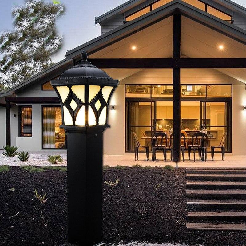 Aluminum+Solar Power Post Lamp Outdoor Waterproof Landscape Corridor Porch Path Light Lamp Pillar Bollard Light E27 Bulb Include ...